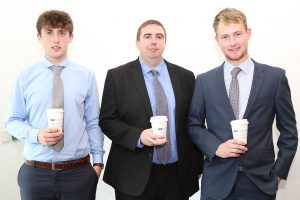 Pictured attending a coffee morning in aid of Hospice at David M. Breen & Co., Chartered Accountants and Business Advisors were Cian O'Mara, Gerry O'Connell and Niall Burns.Photo: John Power