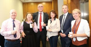 Pictured attending a coffee morning in aid of Hospice at David M. Breen & Co., Chartered Accountants and Business Advisors were Shane Ahearne, Pamela Pim, David Larkin, Gillian Nevin, David Breen and Carol Chapman.Photo: John Power